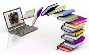 Laptop and books: Digital Age